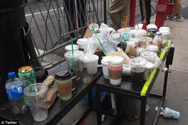 So much for clearing up the planet! Climate change protesters who marched through Manhattan are branded hypocrites for leaving litter strewn across the city